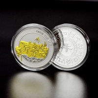 Plated Colored Metal Gold And Silver Coins Custom Made Fine Engraved Souvenir Pure Silver Coin