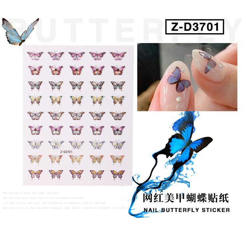 2020 new waterproof adhesive butterfly stickers nail art sticker 3D holographic butterfly sticker for nails