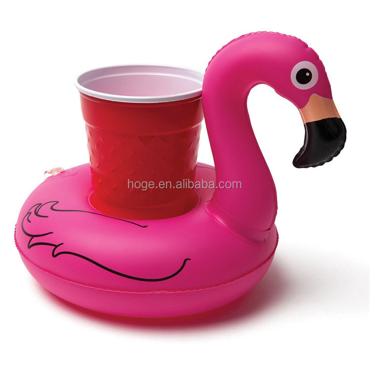 Custom Beach Floating Pink Flamingo Can Cup Holder Inflatable Pool Drink Holder For Promotion