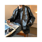 2020 new arrival Wholesale custom Single-breasted men's jacket in loose soft leather