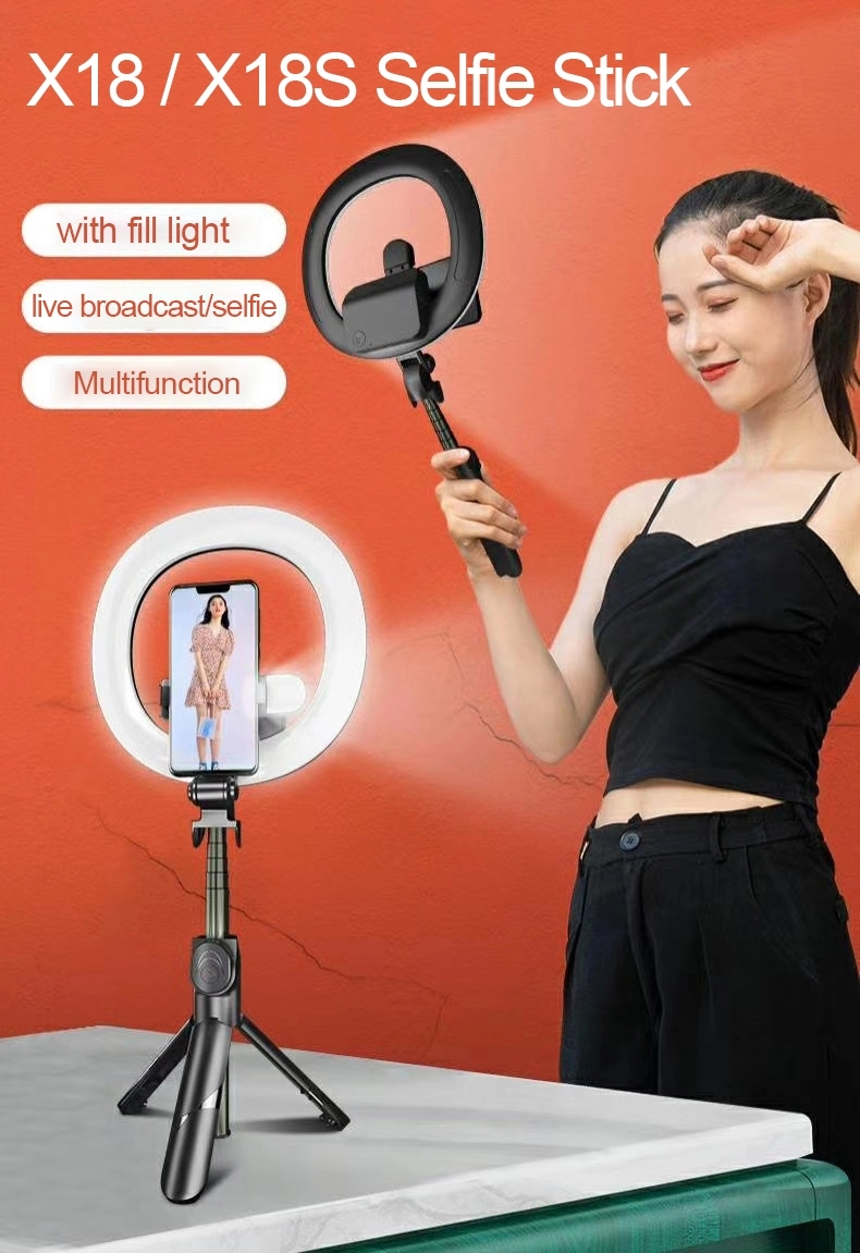 """2020 Hot Xt18S Portable Bluetooth Remote Removable 6"""" Ring Light Tripod Selfie Stick With Two Fill Lights"""