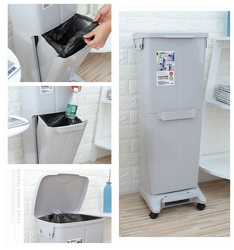 Plastic Indoor Double Sorting And Recycle Trash Can with Lid