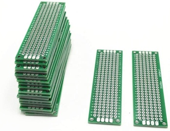 2*8cm Double Side Prototype PCB Breadboard 2*8cm Universal Printed Circuit Board 1.6mm Thickness 2.54mm Pitch Glassfiber