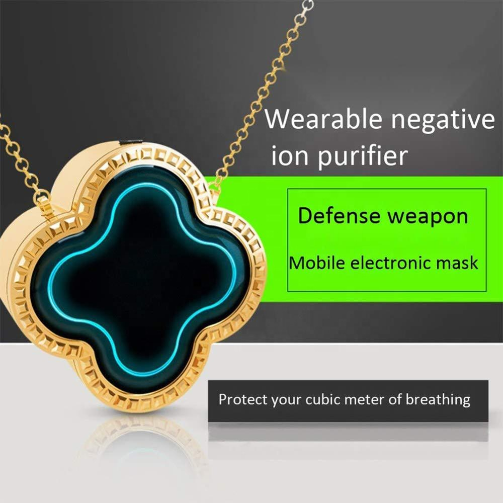 wearable portable personal mini necklace air purifier negative ionizer clover light weight