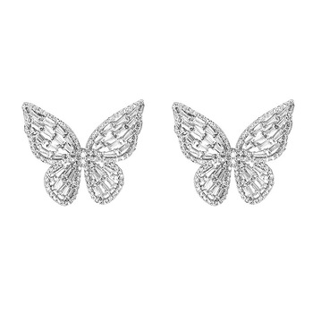 2020 New Design S925 Silver Stud Earrings Fashion Rhinestone Butterfly Stud Earrings