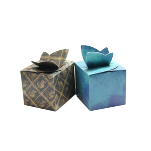 Custom rectangular shape gift box with tie on top butterfly box handmade paper box