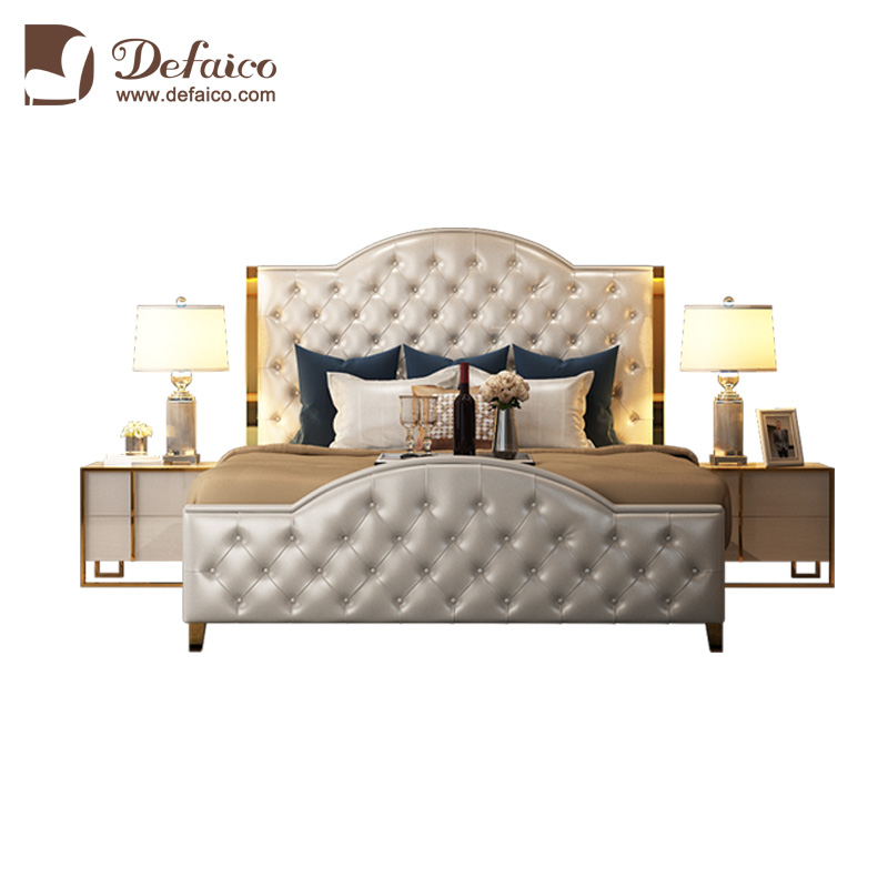 Modern Luxury Stainless Steel <strong>Edge</strong> White Genuine Leather Chesterfield Button Tufted King Size Double <strong>Bed</strong>