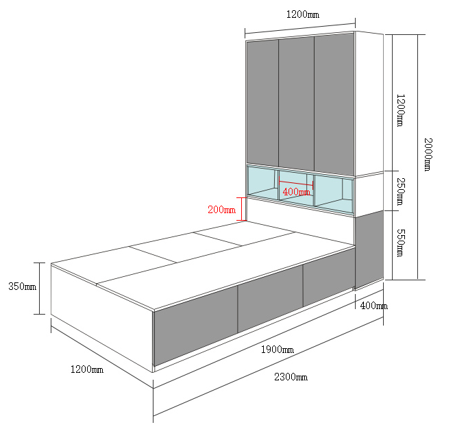 cube box storage tatami bed  with wardrobe for bedroom furniture