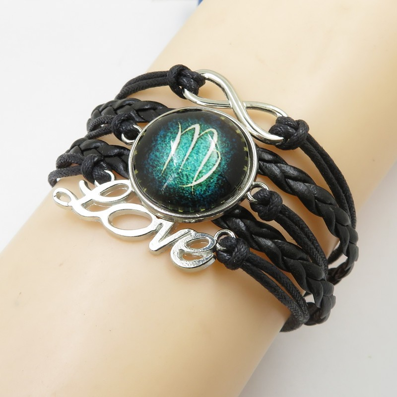 SAF European and American fashion exquisite jewelry bangles personality 12 constellations alloy leather bracelet