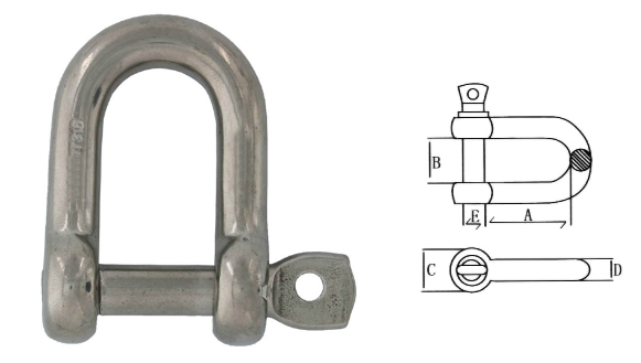 Marine Grade 304/316 Stainless Steel Dee Shackle For Shade Sail/Tensile Structure