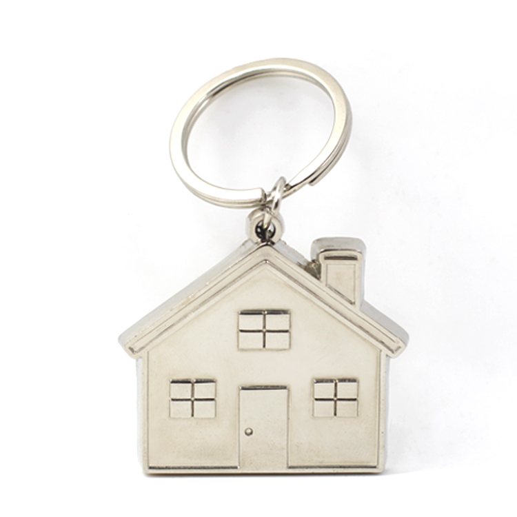 Wholesale Cheap Custom Metal 3D House Shape Keyring, House Shaped Keychain