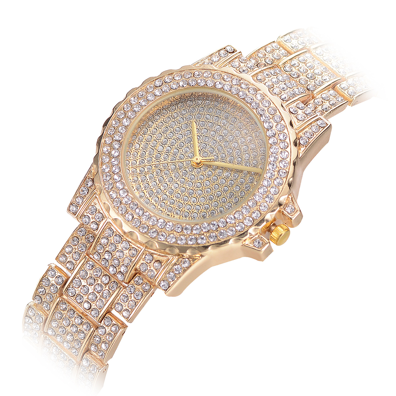 Hot Selling Women Men Full Diamond Stainless Steel Quartz Wrist Gold Watches JAW-0691