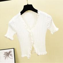 2020 винтажная Женская облегающая футболка с v-образным вырезом и оборками, повседневная женская футболка, укороченный тонкий кардиган, пальт...(Китай)