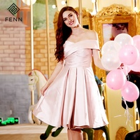 China Wholesale Satin Weddings Party Wear Off The Shoulder Pink Bridesmaid Dress