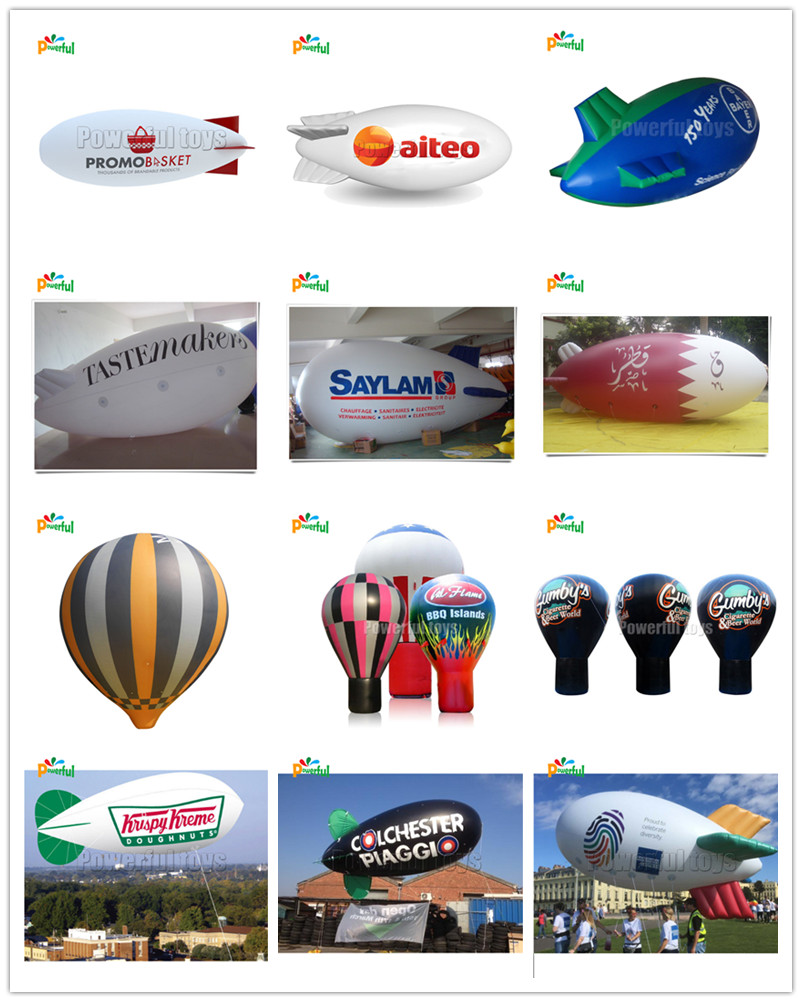 Custom logo flying inflatable hot air balloon airship helium balloon for advertising