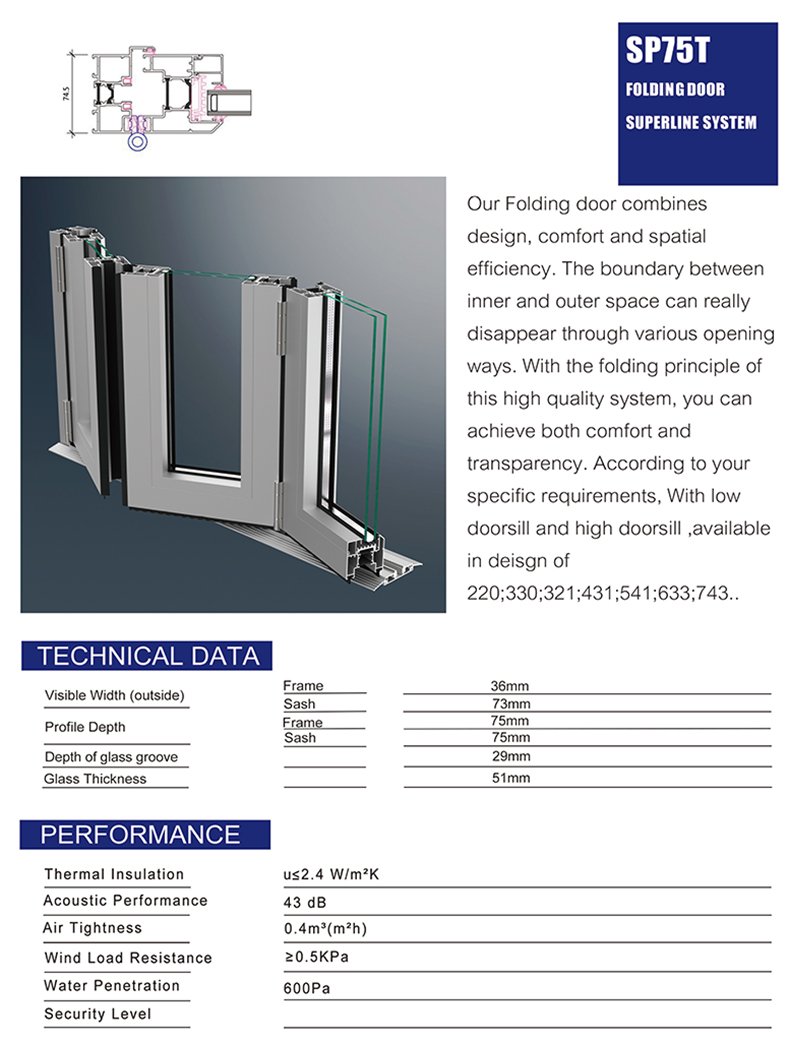 NFRC AS2047 AS2208 Standard commercial wood color double glass aluminum folding door