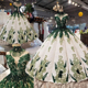 halter muslim green puffy princess ball gown bridal wedding dresses pictures in karachi with exquisite 3d flowers and beads