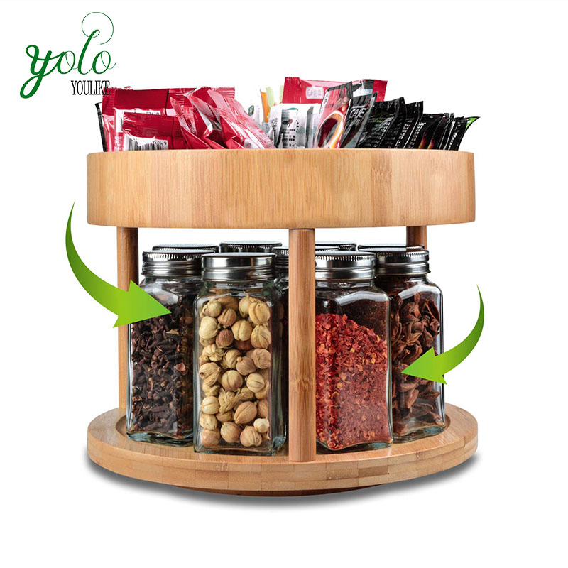 360 Degree Bamboo Kitchen Cabinet Counter Top Organizer Storage Container  Spinning Spice Rack Holder