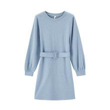 Платье с длинным рукавом и поясом для похудения, однотонное платье с вырезом лодочкой и поясом, inman, весна 2020(Китай)