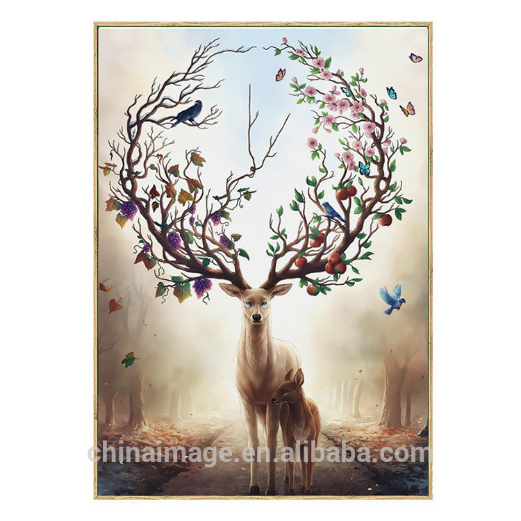 Hot Saling Modern Abstract Elk Deer Canvas Painting Frameless Wall Art Bedroom Living Room Home Decor painting