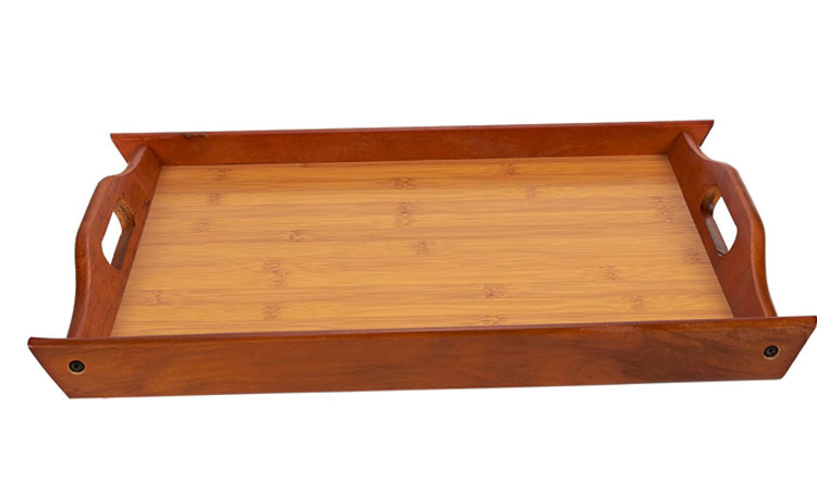 Large and Small Wood Brown Serving Tray With Handles 7