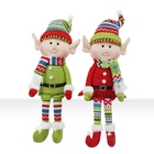 Wholesale Custom 18 inch Fleece Fabric Table Top Christmas Sitting Elf Doll For Decoration