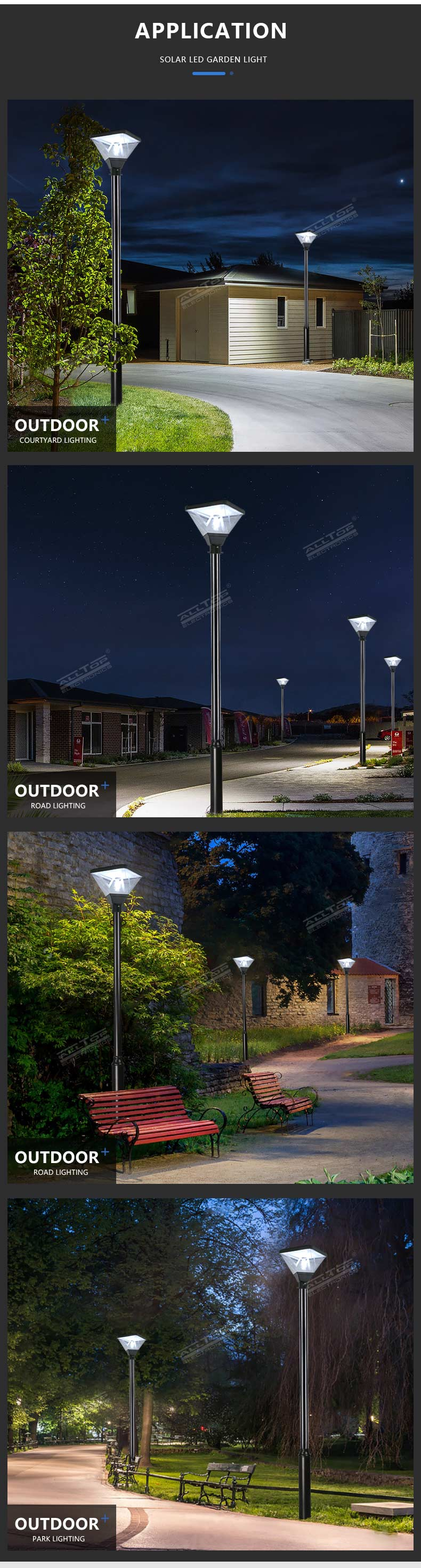 ALLTOP High Performance Post Stand Outdoor Waterproof IP65 20W Solar Powered Led Garden Light
