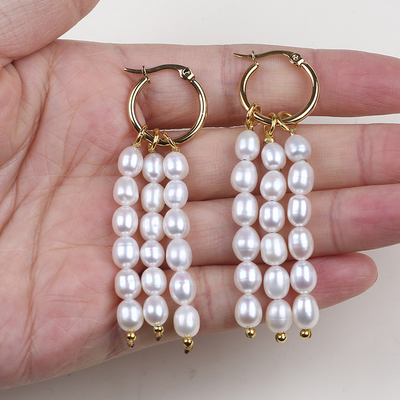 New fashion Korean rice pearl beaded tassel earrings