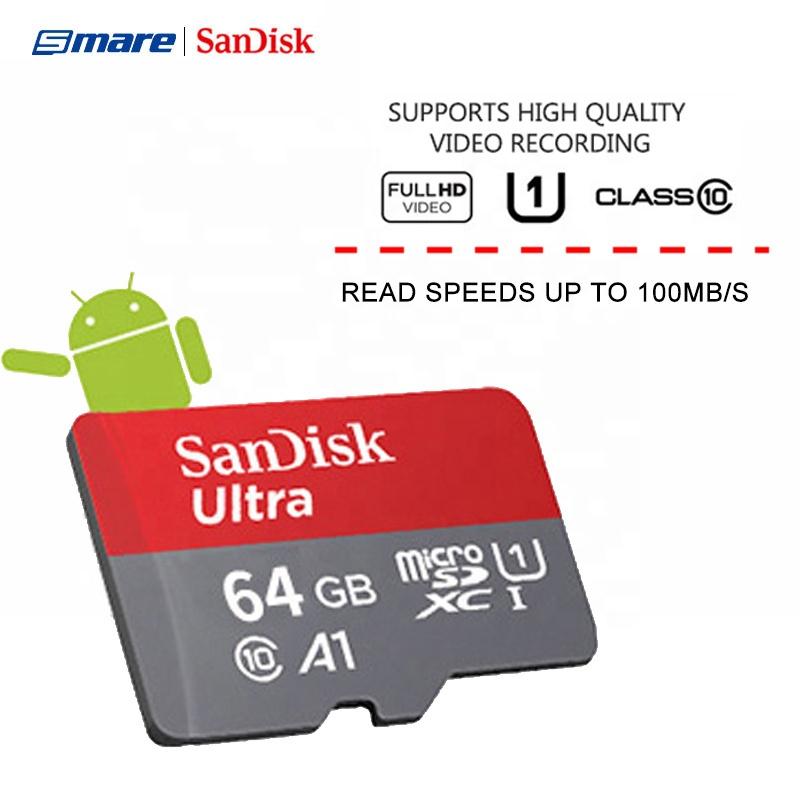 100% Authentic SanDisk Ultra A1 Micro Memory SD Cards Cartao De Memoria 32GB 64GB 128GB 256GB Flash Memory Micro TF SD Card