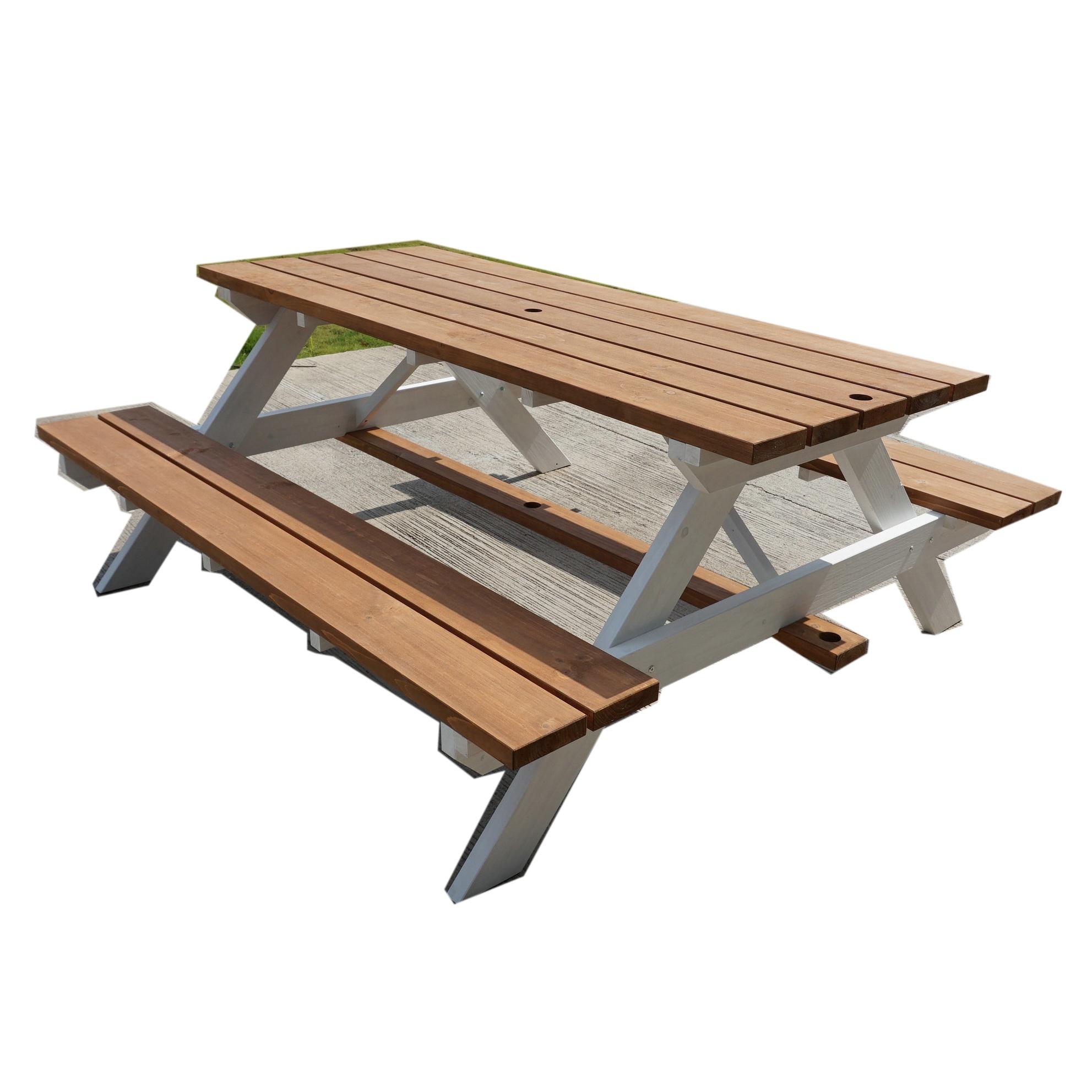 מותאם אישית עץ גן ריהוט פטיו ספסל עם חופה מטריית חוף כיסא