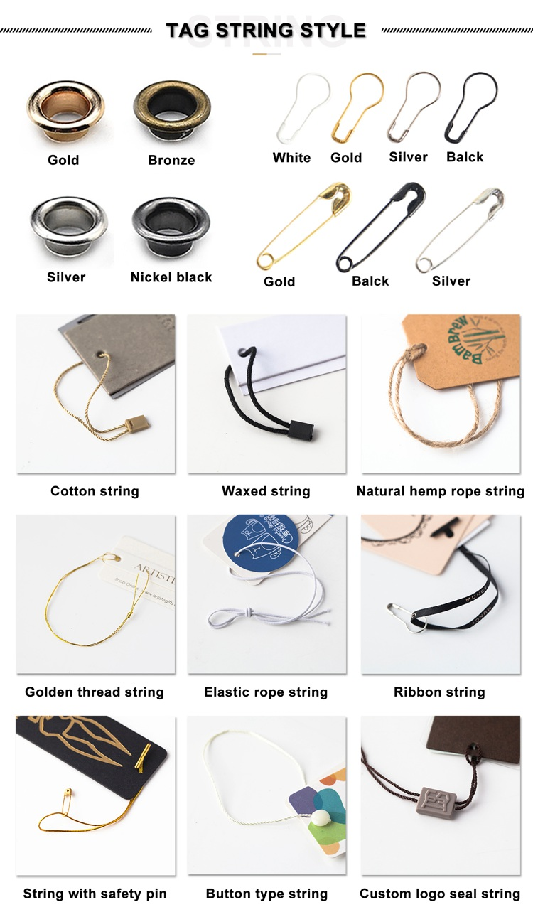 Premade Hang Tag Cord With Safety Pin, Garment Price Swing Tag Diy String Cord