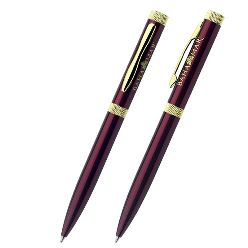 الثقيلة الفاخرة الجميلة الكرة المعدنية قلم هدية فندق النحاس القلم مع شعار مخصص