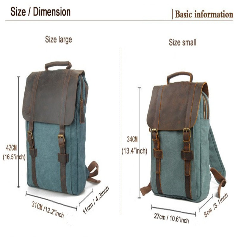 mochilas Vintage Fashion Backpack Leather military Canvas Men women school bagpack rucksack mochila girl