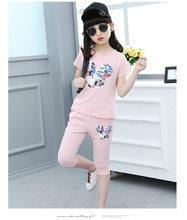 Детская летняя одежда для девочек, футболка с коротким рукавом и леггинсы для подростков, штаны с мультяшным рисунком, комплект для детей 4, 7...(Китай)