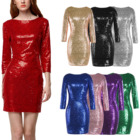 New Arrival Five Colors Choices Charming Female Bodycon Dresses Women Elegant Sexy Ladies Sequin Club Wear Dresses Women Party