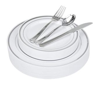 Fancy Disposable Plates with Cutlery 125 Piece Silver Plastic Plates and Silver Plastic Cutlery for Weddings