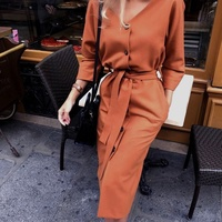Women V-Neck Long Sleeve Straight Solid Dress Knee-Length Empire Office Lady Dress 2020 New Autumn Fashion Dress