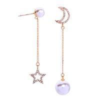 e982202d Fashion Trends Pearl Dangle Moon Star Korean Designer Gold Stud Accessories Woman Earrings