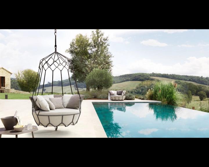 Outdoor metall chaise garten balkon rattan lounge hängen ei stuhl terrasse wicker schaukel stuhl