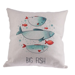Sea Style Thickened Cotton Linen Pillow Case Custom Digital Printing Sofa Cushion Cover For Home Decoration