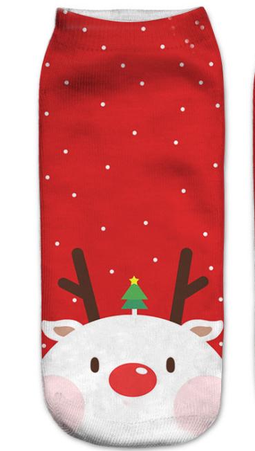 สไตล์ใหม่ฤดูใบไม้ผลิ 3 Dการพิมพ์สีรูปแบบคริสต์มาสถุงเท้าผู้ชายและผู้หญิงน่ารักSanta Claus