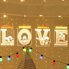 LOVE Images LED Icicle Curtain Fairy String 3D Night Lights 1M X 0.7M USB Power Hanging USB Illusion Lamp for Party Wedding Love