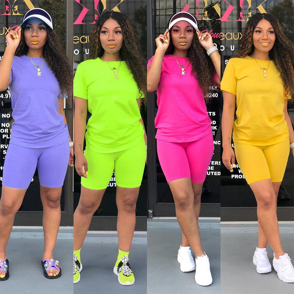 BIKER กางเกงขาสั้น 2020 ผู้หญิง 2 ชิ้นชุดเสื้อผ้าชุดกางเกงขาสั้น 2020 Jumpsuit Rompers 2 ชิ้นชุด