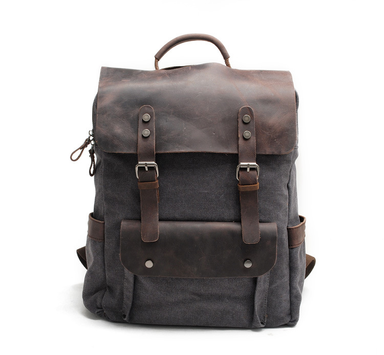 product-mochilas New Multi-function Fashion Men Backpack Vintage Canvas Backpack Leather School Bag