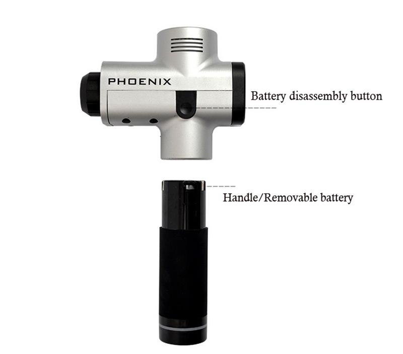 PHOENIX A1 Massage Gun with Aluminum Case Deep Tissue Muscle Massage Gun Cordless Therapy Body Massager Dropshipping