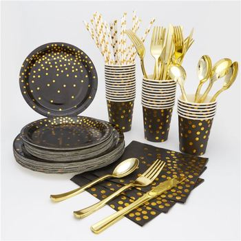 Custom Gold Dot print Birthday Party Tableware Sets Disposable Black Paper Plate