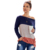 New Arrive Fashion Women Color Block Crew Neck T Shirt Long Sleeve Casual Top