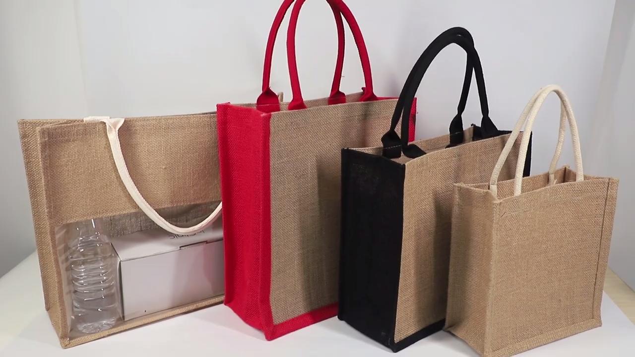 Пользовательские печатные мешковины сумки эко многоразовые хозяйственные джутовые сумки
