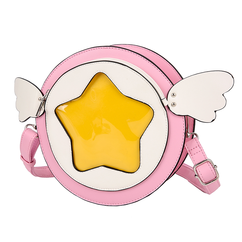 Customize Binary Girls Anime Five Stars Clear PVC Plastic Window Round Ita Crossbody Bag With Wings