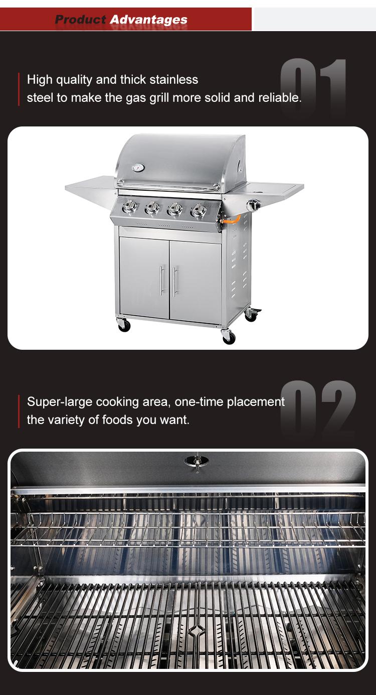 Robuste grand debout libre barbecue machine 4 brûleurs en acier inoxydable japonais barbecue barbecue à gaz en plein air